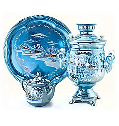 "Samovar ""Bank"" of 3 liters per painted set of ""Winter night"""
