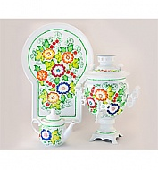 "Samovar ""Acorn"" 3 l painted set of ""Summer in the country"""