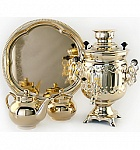 "Samovar 3 l ""Bank"" with an ornament in the set"